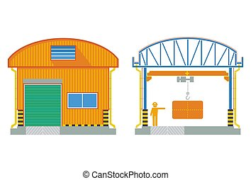Warehouse building, cross section factory ,vector illustration