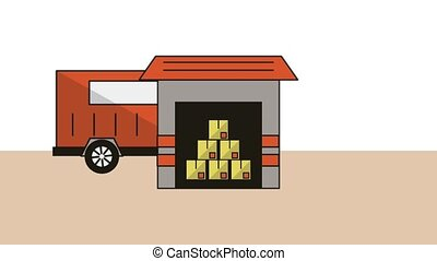 warehouse building delivery service animation