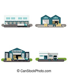 Warehouse Building Flat - Warehouse building flat icons set...
