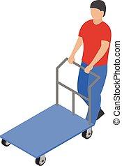 Warehouse cart icon, isometric style