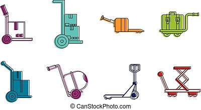 Warehouse cart icon set, color outline style