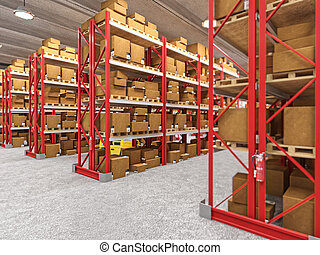 warehouse - indoor image of classic warehouse building 3d...