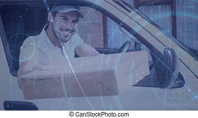 Warehouse Composition of Delivery Man in a van combined with animation of connection