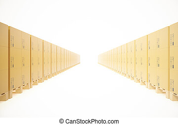 Warehouse concept of stacked cardboard boxes on wooden pallets for transportation of shipping isolated on a white background. 3d rendering