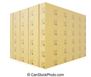Warehouse concept of stacked cardboard boxes.