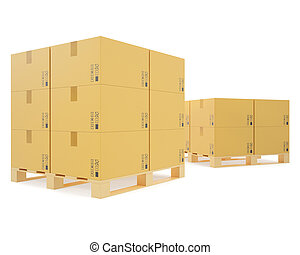 Warehouse concept of stacked cardboard boxes on wooden pallets.