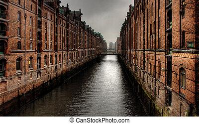 Warehouse district - Historic warehouse district of Hamburg,...