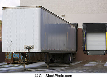 Warehouse Dock - Trailer at Warehouse Dock or Store Loading...