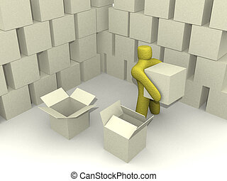 warehouse environ. - 3d person in an abstract warehouse...