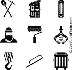 Warehouse equipment icons set, simple style