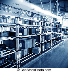Warehouse - Factory warehouse shelves stocked with plastic...