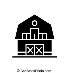 warehouse - farm - barn icon, vector illustration, black sign on isolated background