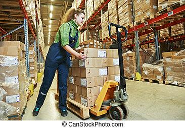 warehouse female worker at work