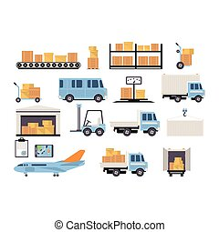 Warehouse flat set of logistics packing process delivery services isolated icon vector