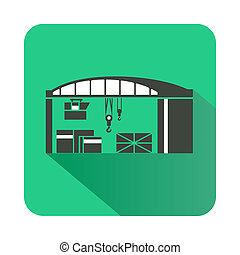 Warehouse for loading icon, flat style