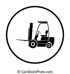 Warehouse forklift icon. Thin circle design. Vector...