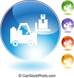 Warehouse forklift icon isolated on a white background.