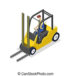 Warehouse forklift isometric 3D icon