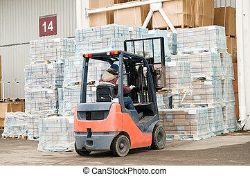 warehouse forklift loader at work