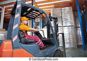 warehouse forklift loader worker