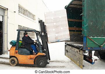 warehouse forklift loading a car