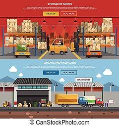 Warehouse Horizontal Banner Set - Warehouse horizontal...