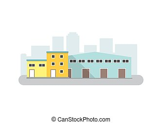 Warehouse Icon in flat style. Isolated vector illustration.