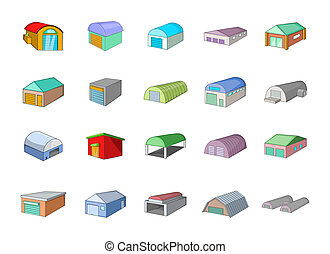 Warehouse icon set, cartoon style
