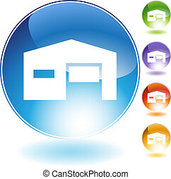 Warehouse Icon - Warehouse icon isolated on a white...