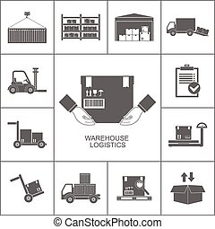 Warehouse set of storage and logistic black icons vector illustration