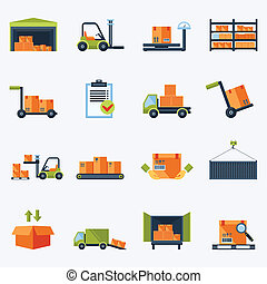 Warehouse Icons Flat - Warehouse transportation and delivery...