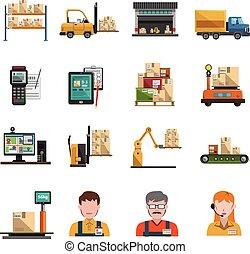 Warehouse Icons Flat - Warehouse icons flat set with...
