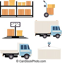 Warehouse Icons Flat - Warehouse icons flat set of storage...