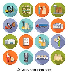 Warehouse Icons Flat Set - Warehouse stock and industrial...