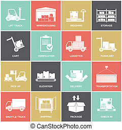 Warehouse icons flat set of storage cart verification...
