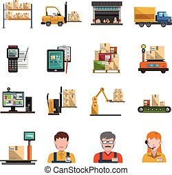 Warehouse Icons Flat - Warehouse icons flat set with...