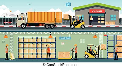 warehouse - Warehouse workers are arranging goods on the...