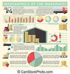 Warehouse Infographic Set - Warehouse infographic set with...