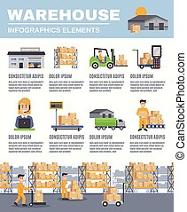 Warehouse Infographics Layout - Warehouse infographics flat...