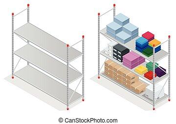 Warehouse interior. Storehouse, goods. Empty warehouse shelves. Flat 3d isometric vector illustration.
