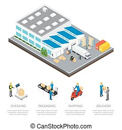 Warehouse Isometric Colored Composition