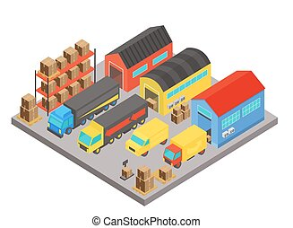 Warehouse isometric concept composition. Modern building storage with employees and shelves with boxes. Vector transportation logistic concept isolated.