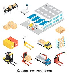 Warehouse Isometric Icon Set