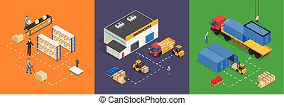 Warehouse Isometric Vector Illustrations