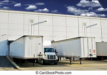Warehouse Loading Docks - Business District. Semi Trucks and...