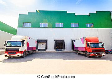 warehouse loading trucks