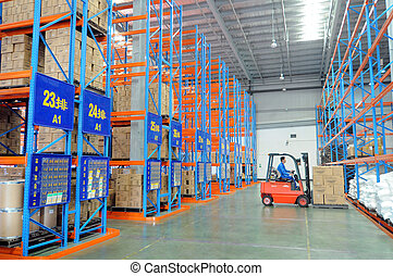 Warehouse Logistics - A large storage warehouse, workers...