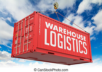 Warehouse Logistics - Red Hanging Cargo Container.