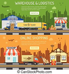 Warehouse logistics shopping banner