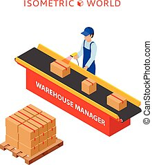 Warehouse manager or warehouse worker with bar code scanner checking goods on a conveyor belt